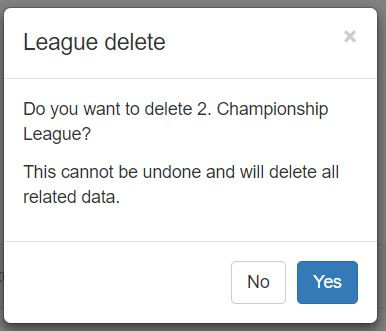 This warning message is displayed if you click the blue delete league icon from the League Setup page. Clicking Yes to this message will completely delete the league. Any players that were in the league will still exist just they won't be in a league until they are reassigned to one.