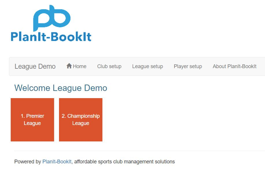 Now if you click on home in the main navigation you will see the leagues that you created.