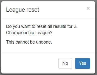 This waning message is displayed if you press the blue reset icon from the League Setup page.  Pressing the Yes button will clear out any results that have been entered by the players.