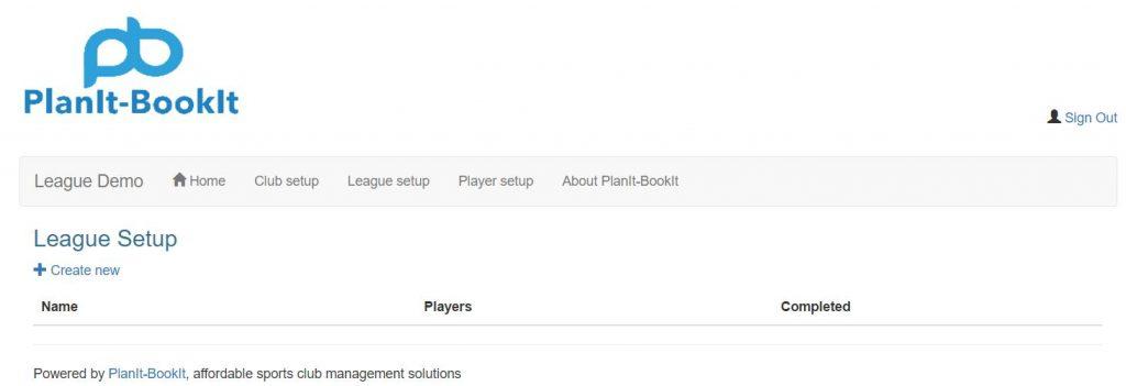 Click League setup from the main menu navigation. From the League Setup screen next click on the + Create new link.