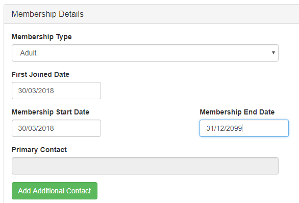 membership details form completed