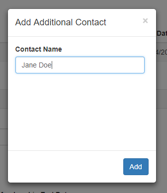 Add additional contact modal pop up window
