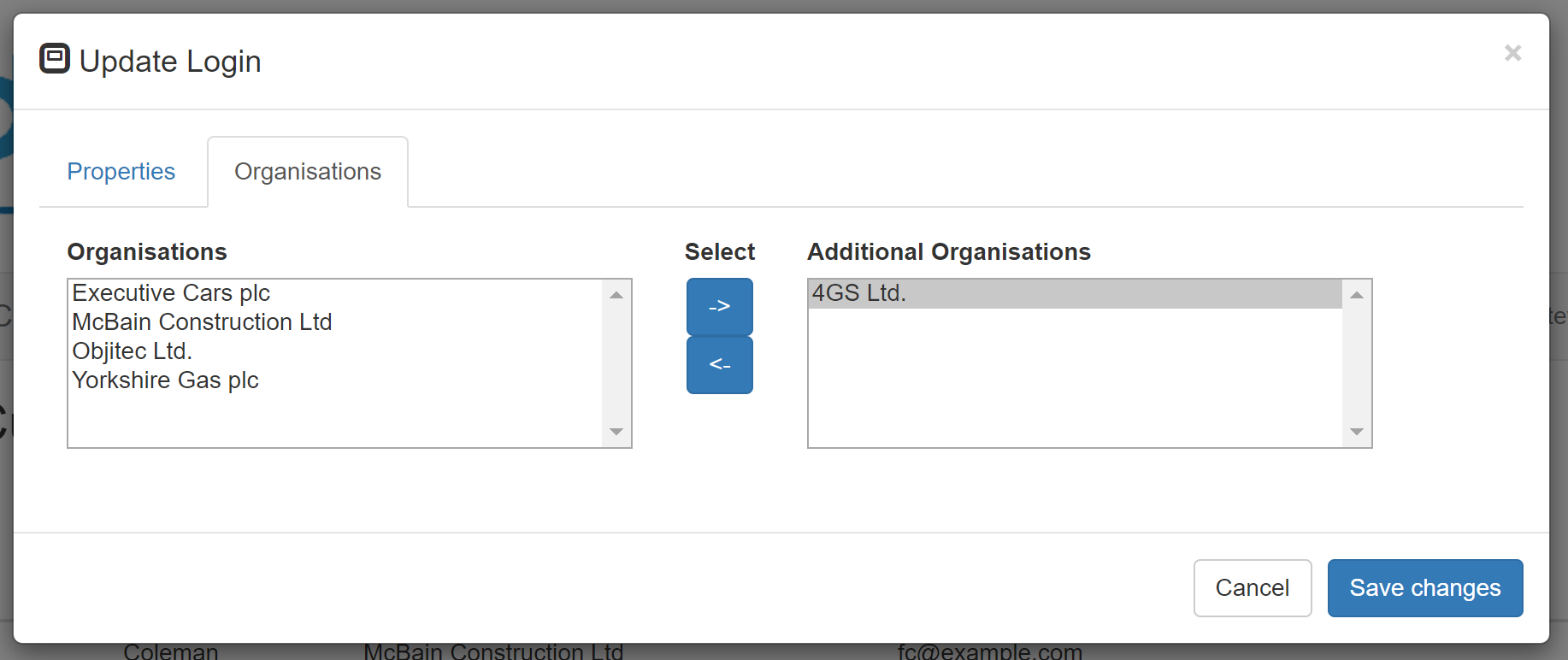 exec car adding an additional organisation
